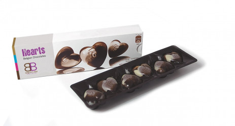 6 Chocolate Hearts in Box