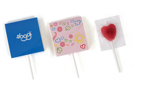 Flat box heart lolli