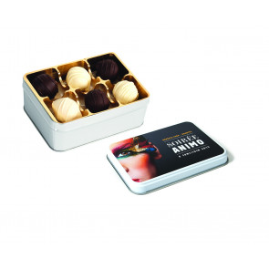 Metal Tin box with 12 fine belgian Truffles