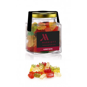 Gummy bears square glass jar